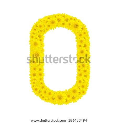 Flower Yellow zinnia  Alphabet - O - stock photo