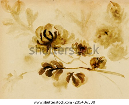 Flowering chrysanthemum picture in east style by India ink, sumi-e - stock photo
