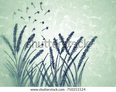 Line Drawing Grass : Flowering grass blossom autumn line drawing stock illustration