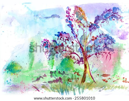 Flowering tree, watercolor drawing - stock photo