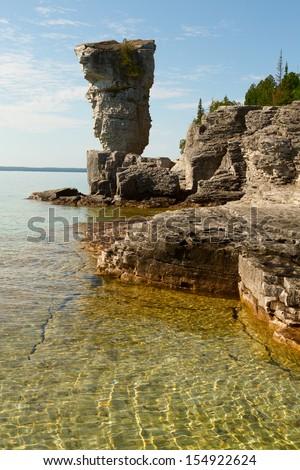 Flowerpot island in Tobermory, Ontario, Canada - stock photo