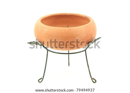Flowerpot isolate on the white. - stock photo