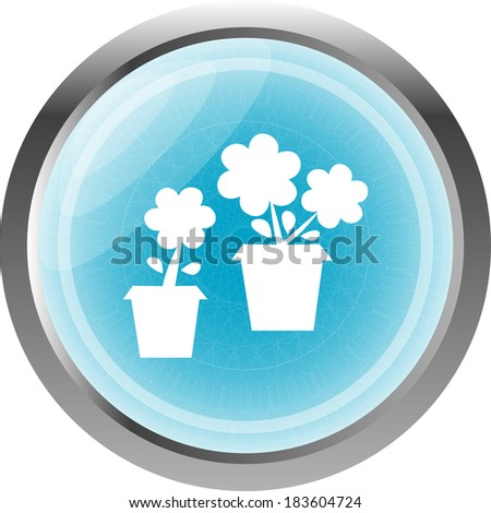Flowerpot with flower icon isolated on white