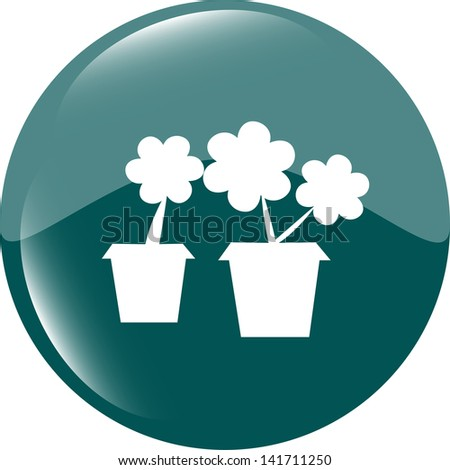 Flowerpot with plant - green icon isolated, raster