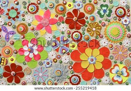 Flowers, abstract composition made of paper layers, quilling with die cut and scissors, abstract background painting. - stock photo