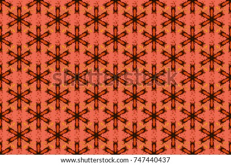 Flowers. Abstract ethnic raster seamless pattern. Flowers of the valley on orange, black and red colors.