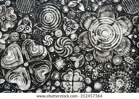 Flowers, abstract grunge surface, black and white composition made of paint layers, quelling with die cut and scissors, abstract background painting. 3d, three, dimensional embossing  and carving,  - stock photo