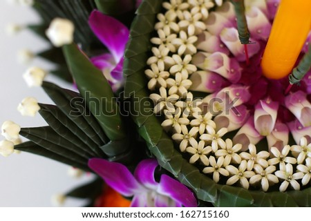 flowers and banana leafs are the material for making Krathong in Loy Krathong ceremony, Thailand - stock photo