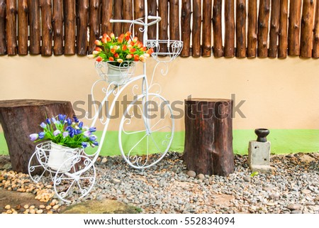 Flowers and bicycle model for wedding decoration