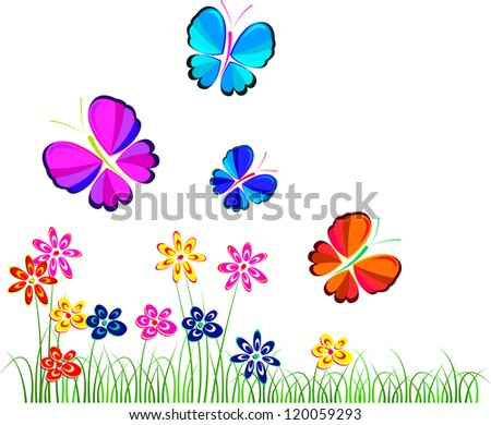 flowers and butterflies over white, illustration, vector