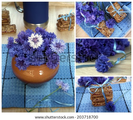Flowers and cookies collage. Bouquet of cornflowers and fruit cookies. - stock photo