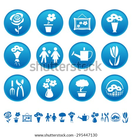 Flowers and gardening icons - stock photo