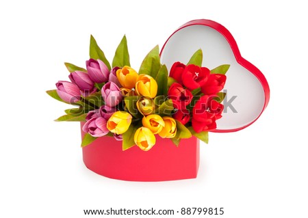 Flowers and gift box isolated on white