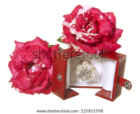 Flowers and jewelry for a Valentine's Day