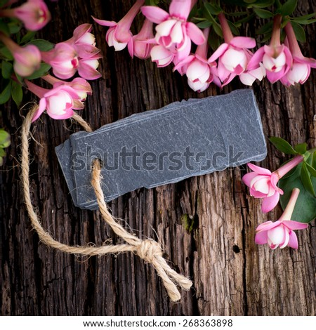 Flowers and label - stock photo