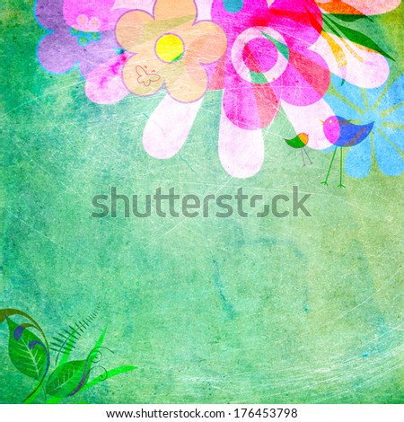 Flowers and love birds on a green background:  cheerful spring frame. Scratchy vintage look. Copy space. - stock photo
