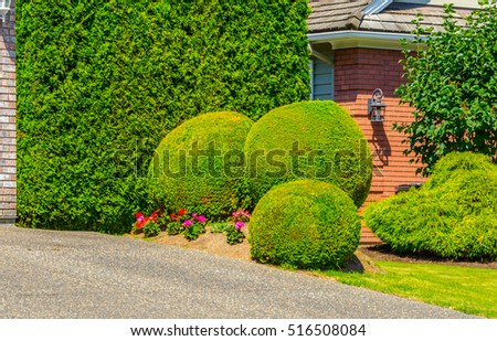 Flowers and nicely trimmed bushes in front of the house, front yard. Landscape design.