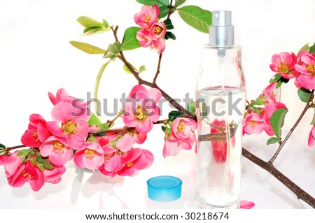 Flowers and parfume - stock photo
