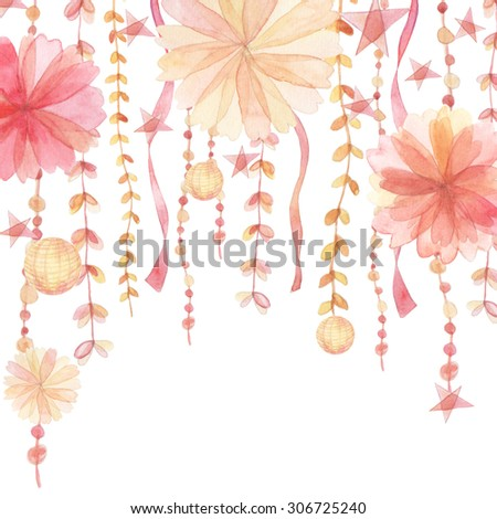 Flowers and ribbon traditional drawing decoration and invitation on white background - stock photo
