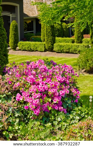Flowers and stones and nicely trimmed and landscaped front yard, lawn.  Landscape design.