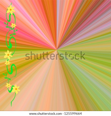 flowers and vine frame with rainbow center illustration - stock photo