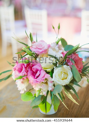 Flowers arrangement bouquets as decoration for wedding - stock photo