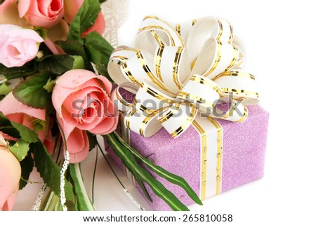 Flowers artificial and gift box on white background - stock photo