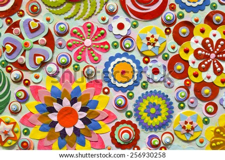 flowers background, zentangle like decorative circular floral elements, made of paper