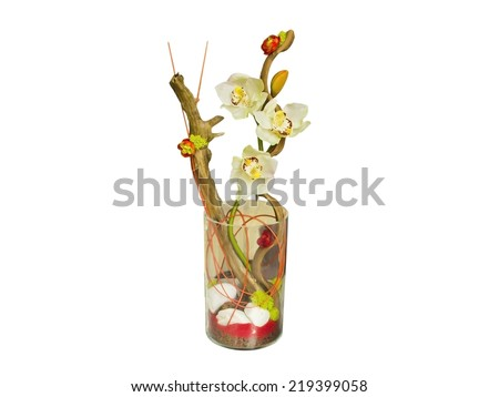 Flowers bouquet and decorative vase. Isolated in white - stock photo