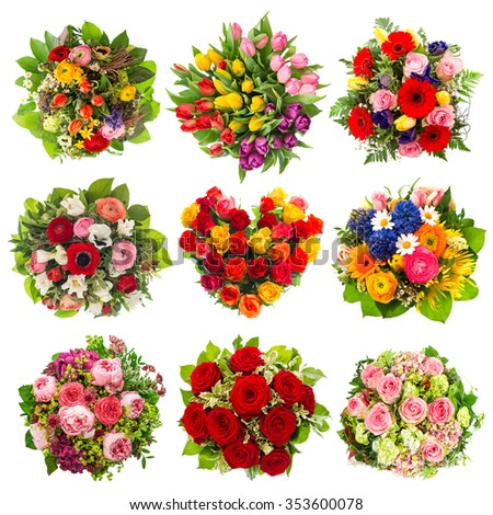 Flowers bouquet for Birthday, Wedding, Mother's Day, Easter, Anniversary, Holidays. Roses, Tulips, Peony - stock photo