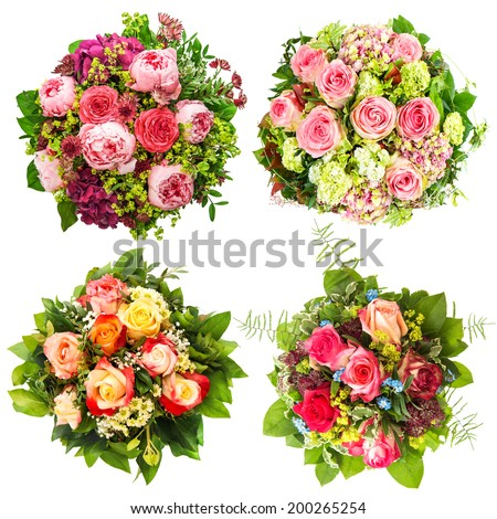 Flowers Bouquet for Birthday, Wedding, Mothers Day, Easter, Holidays and Life Events - stock photo