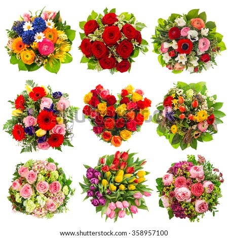 Flowers bouquet for Holidays Birthday, Wedding, Mother's Day, Easter, Valentines Day, Roses, Tulips, Peony - stock photo