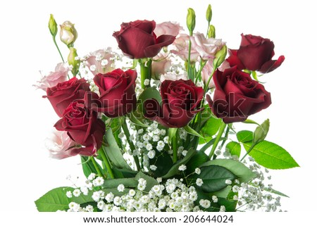 flowers bouquet isolated on white background - stock photo