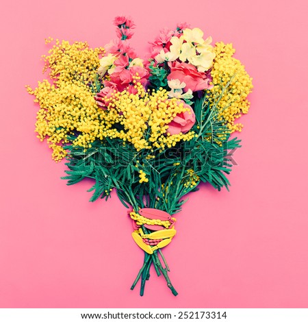 Flowers Bouquet on pink background. Holiday, Love. - stock photo