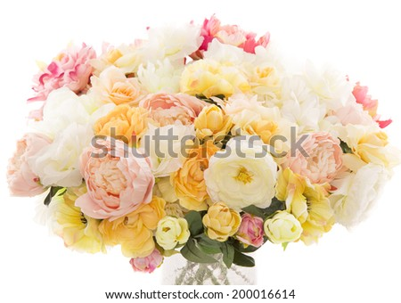 Flowers bouquet summer arrangement over white background - stock photo