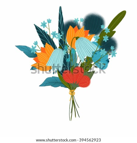 flowers bouquets hand draw clip art