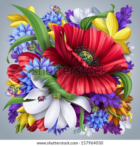 flowers bunch illustration, artistic floral background, - stock photo
