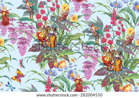 Flowers, butterflies and orchestra of elves. Seamless background pattern version 1