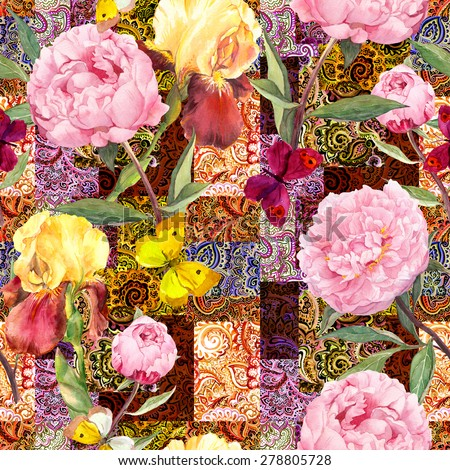 Flowers, butterflies and tribal indian ornament. Watercolor seamless pattern - stock photo
