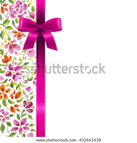 Flowers Card With Ribbon - stock photo