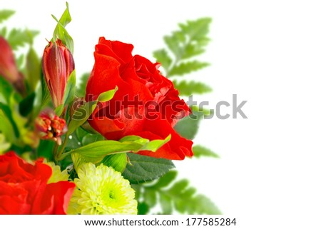 Flowers composition, bouquet with red roses. Over white background, with copy space - stock photo