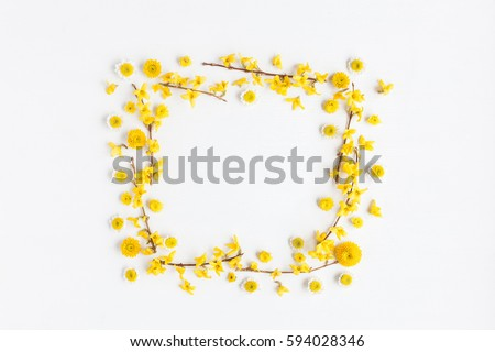 frame made of various yellow flowers on white background easter spring - Yellow Frame
