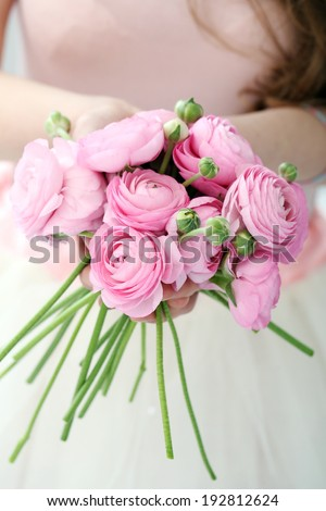 Flowers. Cute bouquet on the table - stock photo