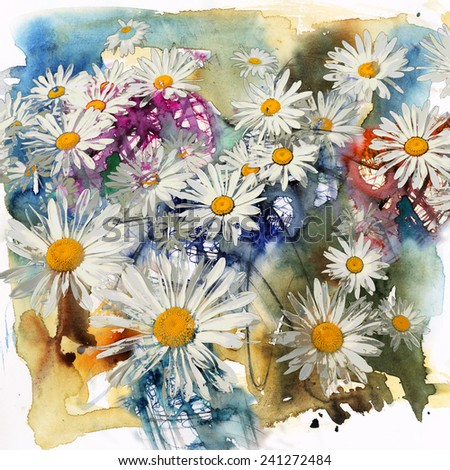 Flowers daisies, watercolor and mixed media abstract background - stock photo