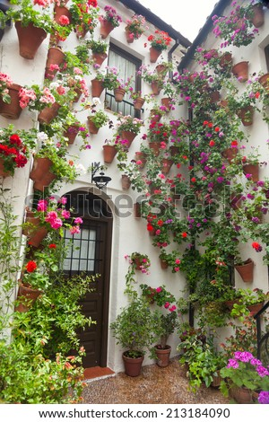 Flowers Decoration of Courtyard, typical house in Cordoba - Spain, Europe.  - stock photo