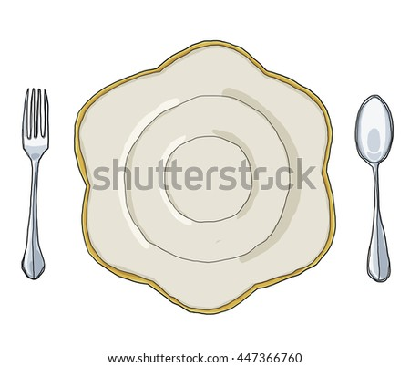 flowers dish plate Shape  and  fork spoon hand drawn art cute illustration - stock photo