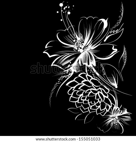 Flower drawing on black paper geccetackletarts flower mightylinksfo
