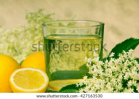 Flowers Elderberry Sambucus nigra and elderberry flower drink with fresh lemon on a white background - stock photo