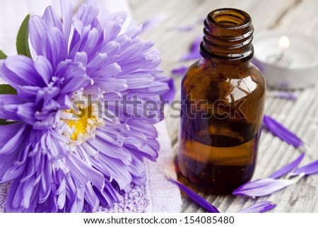 flowers essential oil,aromatherapy scented essence - stock photo