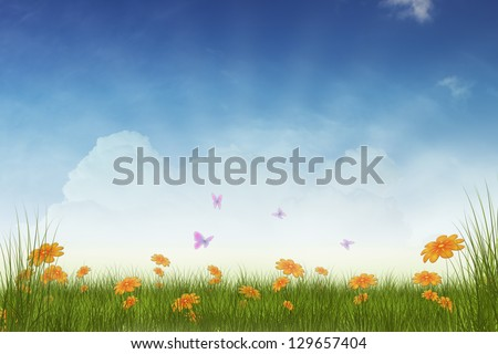 flowers field background illustration with space for text - stock photo